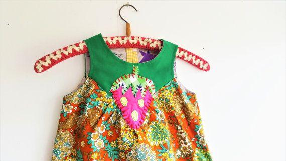 Girls dress, Girls Summer Dress, Summer Dress, Retro Dress, Cute dress, Girls Green Dress, Girls Orange Dress, Mevrouw Hartman,  https://www.etsy.com/shop/MevrouwHartman  http://www.mevrouwhartman.nl/