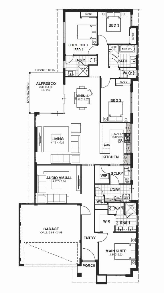 20 039 Wide House Plans Beautiful 12 5m Wide House Designs House Designs Perth House Plans House Design Design