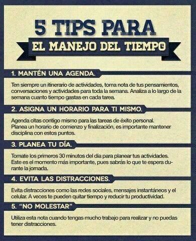 PSICOLOGOS PERU: 5 TIPS PARA EL MANEJO DEL TIEMPO