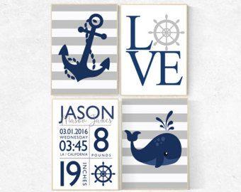 Guardería náutica niño, las estadísticas de nacimiento de bebé, habitación de bebé náutica, arte de la pared de la guardería náutica, decoración cuarto de niños, dormitorio de bebé niño, impresiones de vivero de la ballena