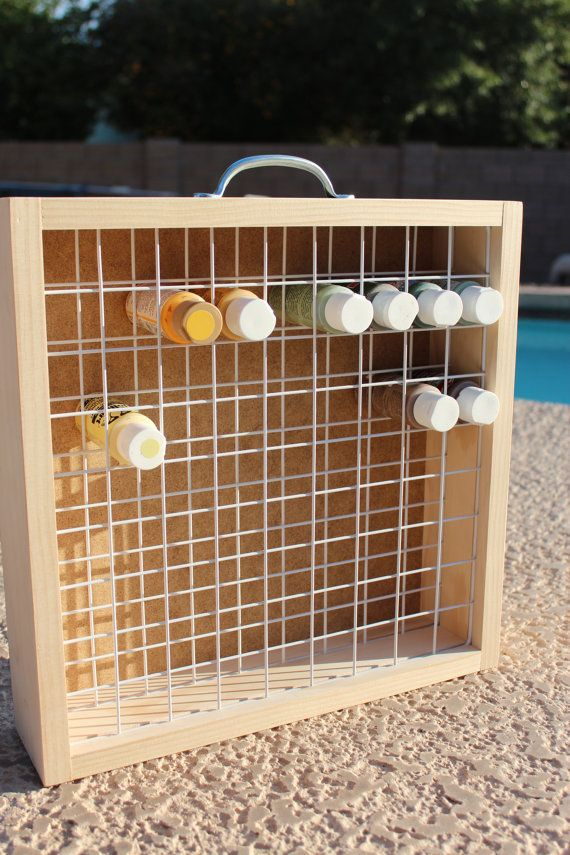 Acrylic paint holder (cut wire shelving to size and use an old dresser drawer...)
