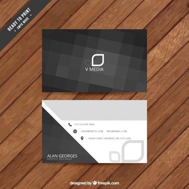 Tarjeta de negocios abstracta negra Vector Premium