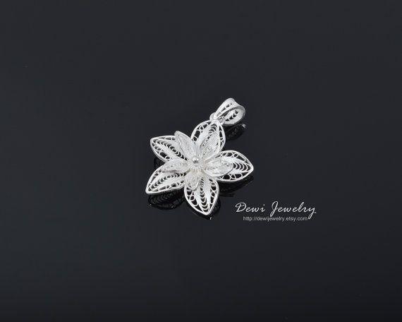 Sterling Silver Filigree Kembang Mekar Pendant #fashion #jewelry