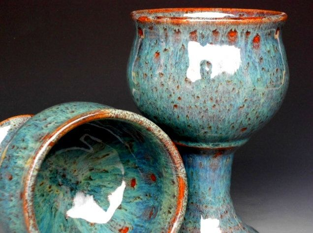 Wine Goblet Pottery Cup Ceramic Chalice Green. $32.00, via Etsy.