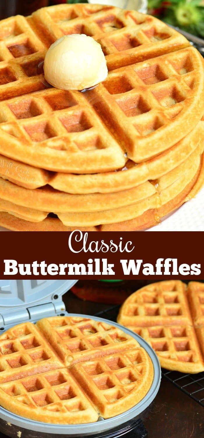 Buttermilk Waffles Recipe These Waffles Are Soft And Fluffy On The Inside And Crunchy On The Outsi Homemade Waffles Waffles Recipe Homemade Easy Waffle Recipe