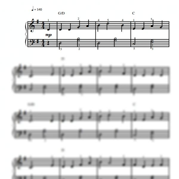 Wabash Cannonball - Easy Piano Sheet Music for Beginners / Piano Notion
