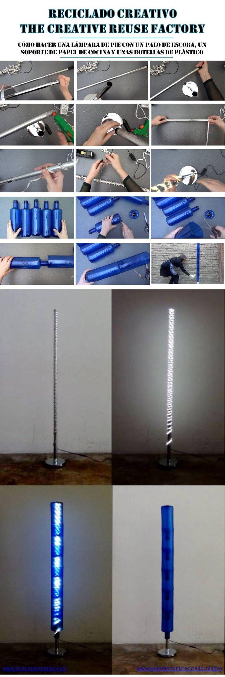 Cómo realizar una lámpara con botellas de plástico, y cómo hacer un pie de lámpara con un palo de escoba y un soporte de papel de cocina