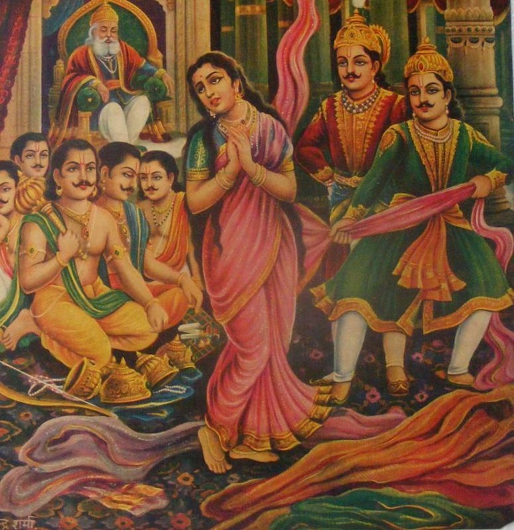 Draupadi Vastraharan --scene from Mahabharata, in which the Kuru Princes are trying to disrobe Draupadi in front of the assembly. No one helps her, so she does what any smart girl would do in the circumstances: she asks for Krsna's help, and He supplies infinite sari.