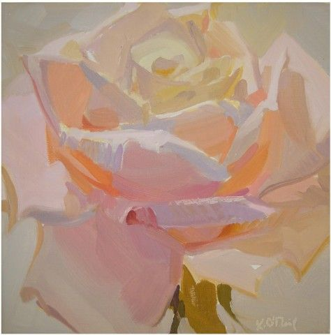 Karen O'Neil, February 14 #2, 10x 10, Oil on Linen, floral, pastel, radiant, light, soft, quiet