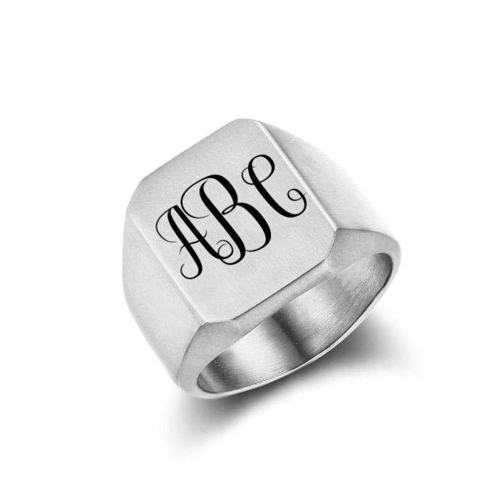 Post Included Aus Wide and to most international countries! >>>  Monogram Signet Ring - Square Silver Stainless Steel
