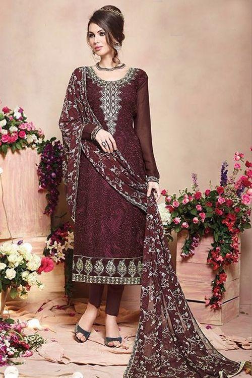 Pure Georgette Salwar Suits in Brown - Google Search    #SalwarKameez   #Shalwarkameez  #Indiandresses  #Indiansuits  #Indianfashion  #indianclothes  #Indianoutfits  #salwarsuits  #churidarsuits  #DesignerSalwarSuits  #palazzosuits