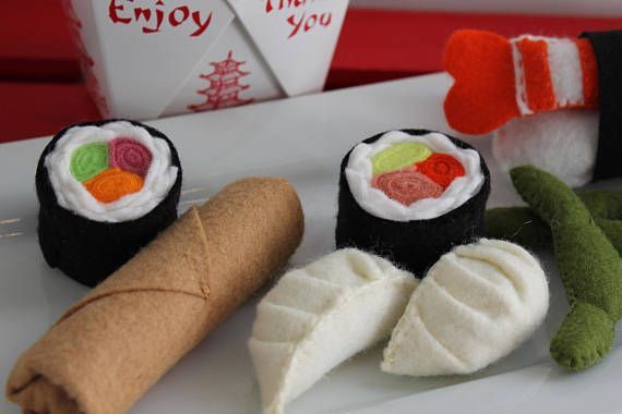 Sushi Play Food Set Felt Asian Sushi Food Toddler Play Set