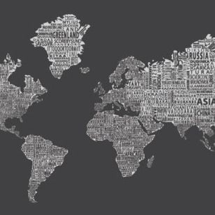 chalboard type of map for playroom...   Modern Wallpaper by 1-World Globes & Maps