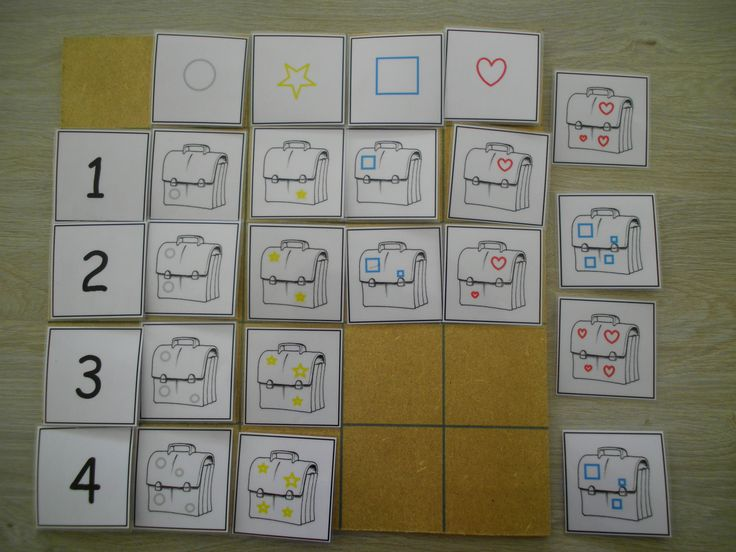 Matrix met boekentassen: sorteren volgens versiering en aantal www.pinterest.com/liestr