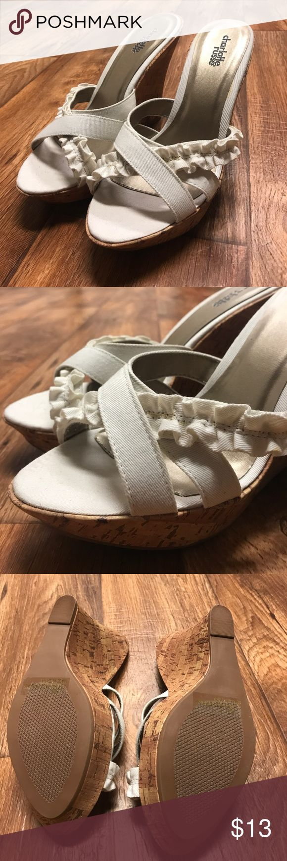 Cream wedges Never before worn cream/white wedges Charlotte Russe Shoes Wedges