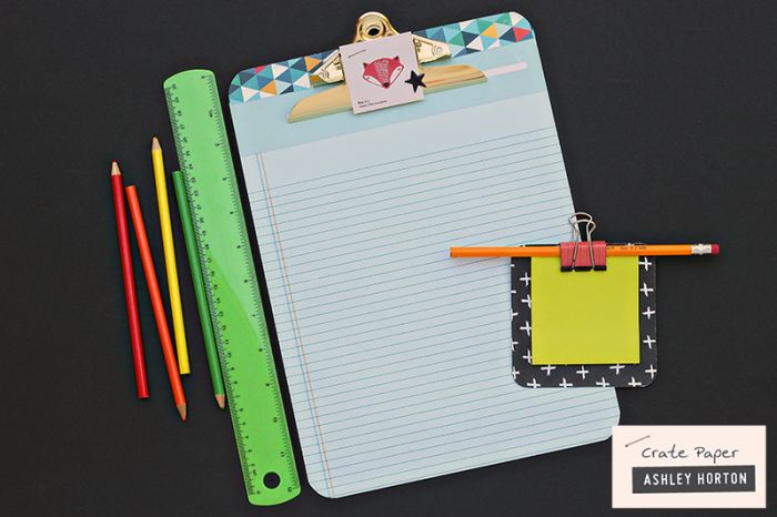 Decorated clipboard and post-it holder using Crate Paper paper.
