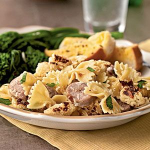 Farfalle with Cauliflower and Turkey Sausage | Very good! Made mine with ground italian sausage. Liked having a little bit in every bite.