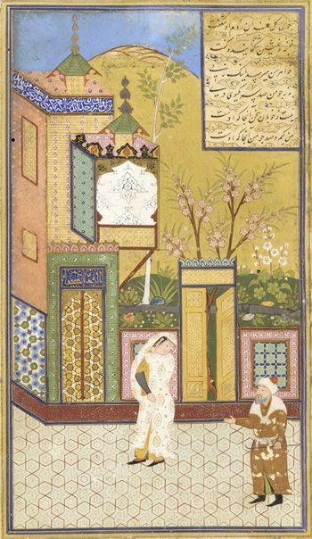 Tuhfat al-ahrar (Gift of the free) by Jami (d.1492) A.H. 921/1515-16 A.D. Shaykhzada  Uzbek period  Opaque watercolor, ink and gold on paper H: 24.3 W: 15.9 cm  Bukhara, Uzbekistan  Purchase--Smithsonian Unrestricted Trust Funds, Smithsonian Collections Acquisition Program, and Dr. Arthur M. Sackler S1986.52.1  Freer-Sackler   The Smithsonian's Museums of Asian Art