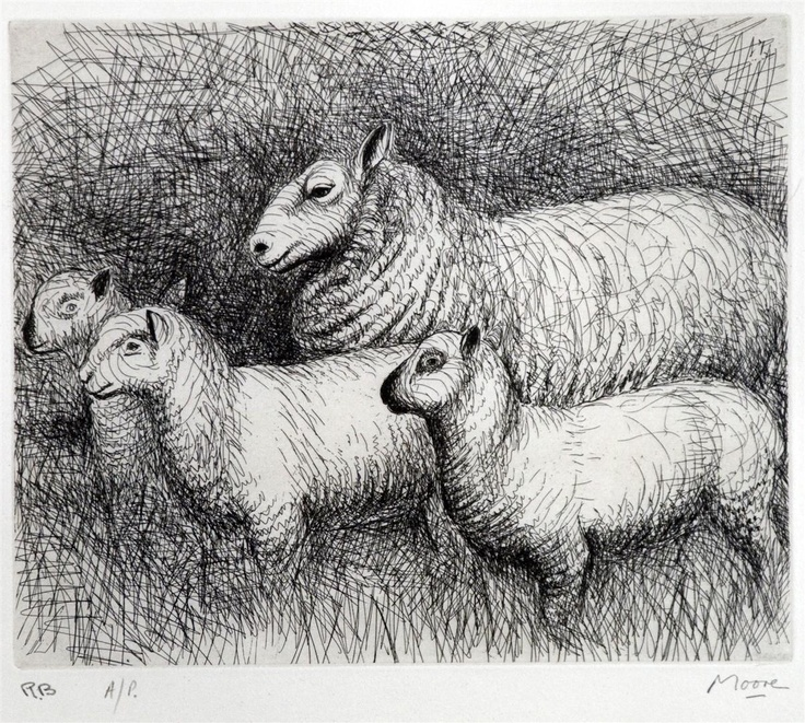 Henry Moore - Family (Etching)