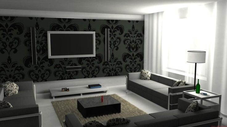 Mounted Wall TV with black modern wallpaper