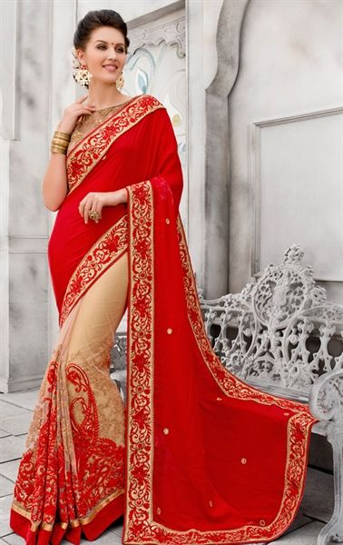 Alluring Red and Cream Wedding Saree