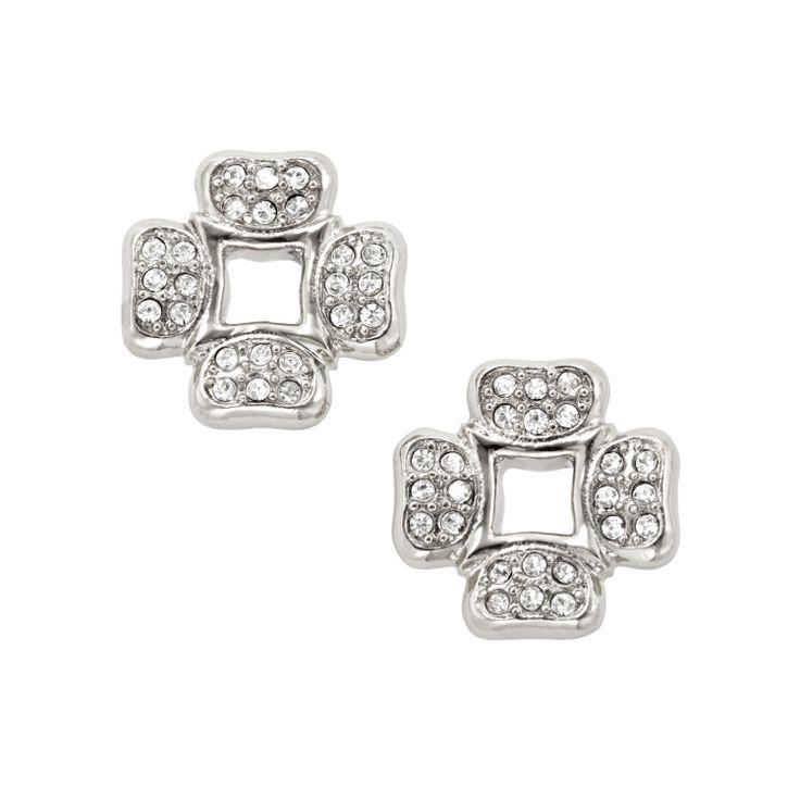 Orecchini quadrifoglio con cristalli #FOSSIL Jewels - #ororagioiellerie