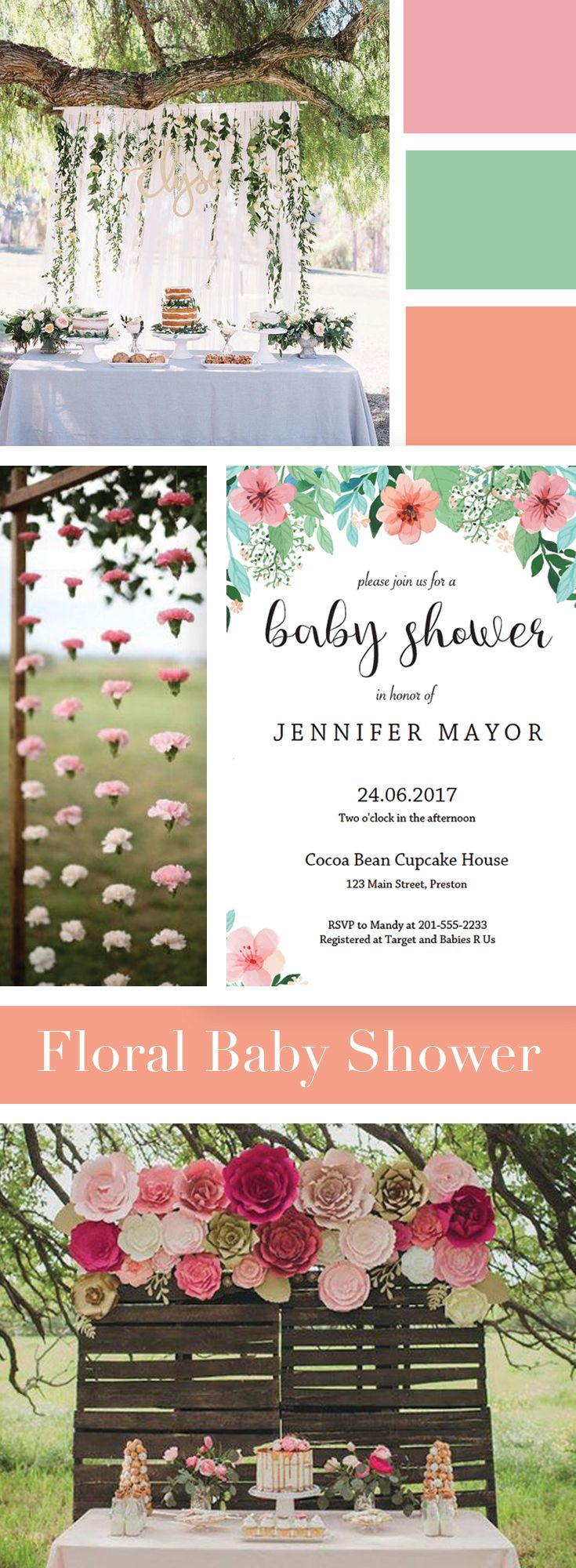 Floral Baby Shower Girl Theme by LittleSizzle. Floral Invitation Printable for your Baby Shower. Make the perfect announcement with this floralbaby shower invitation. Easily personalize the invitation with your own words. Simply download, edit, print and trim!
