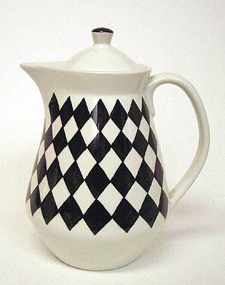 Svart Ruter teapot by Karin Björquist for Gustavsberg.