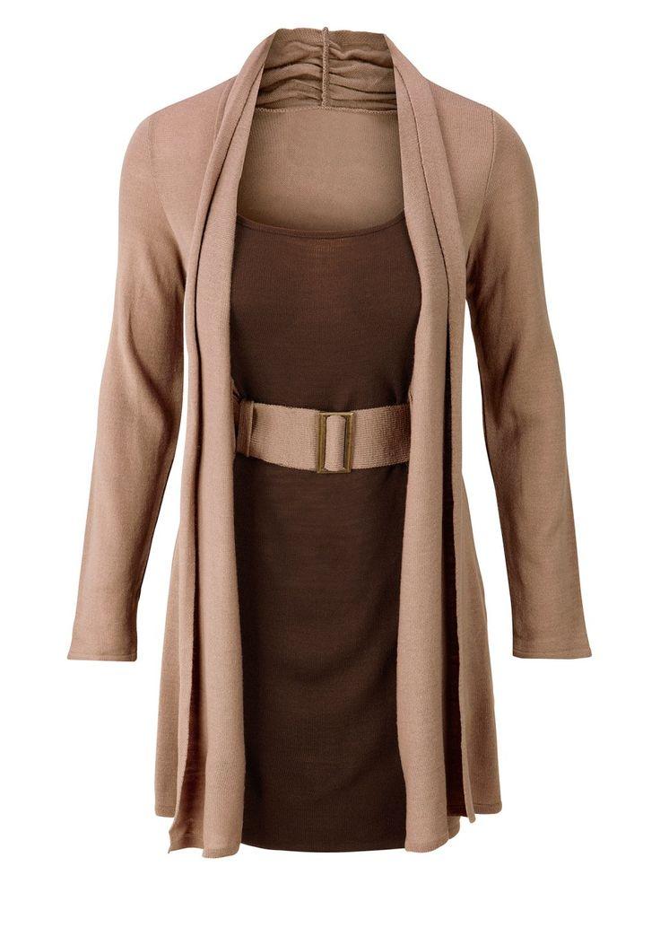 Kemerli örgü elbise dut rengi/siyah - Kadın - bonprix.com.tr