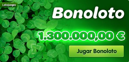 Puedes empezar la semana como un millonario: Bonoloto tiene un bote de 1.300.000,00€. No pierdas el tiempo y juega online con nosotros    https://www.lotojuegos.com/bonoloto/boleto-bonoloto.asp?md=bo=blh