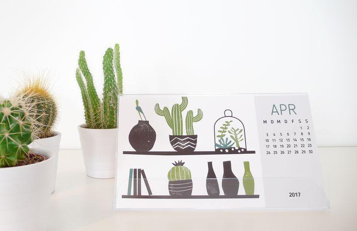 Tischkalender - Tischkalender 2017 mit Stempelmotiven, inkl. Box, #Kalender # Kaktus #Sukkulenten #Tischkalender #Stempel