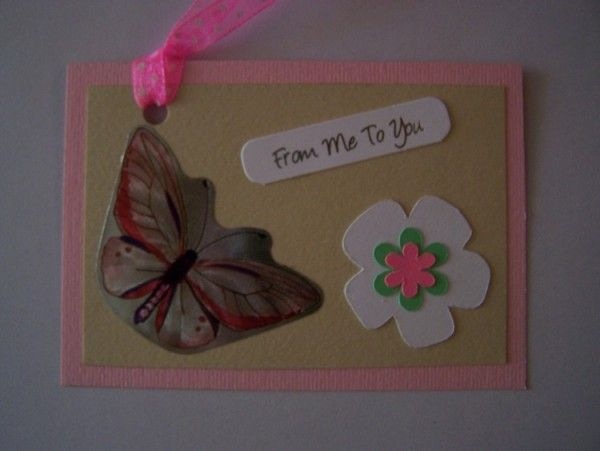 Make a DIY birthday card and a matching DIY gift tag for spring.