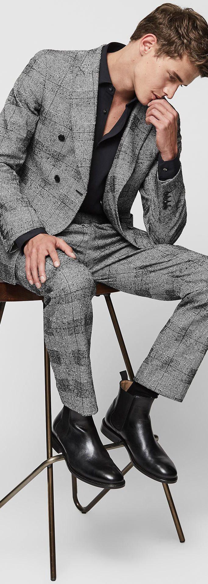 Men's Check Pattern Pants & Jacket