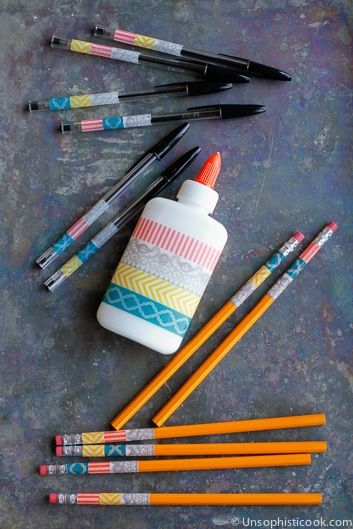 Unsophisticook personalized school supplies with washi tape