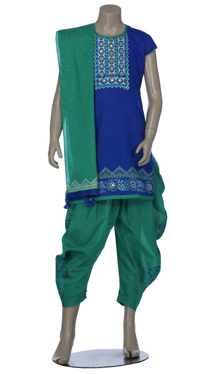 Blue and Teal Printed and Embroidered Voile Shalwar Kameez Set