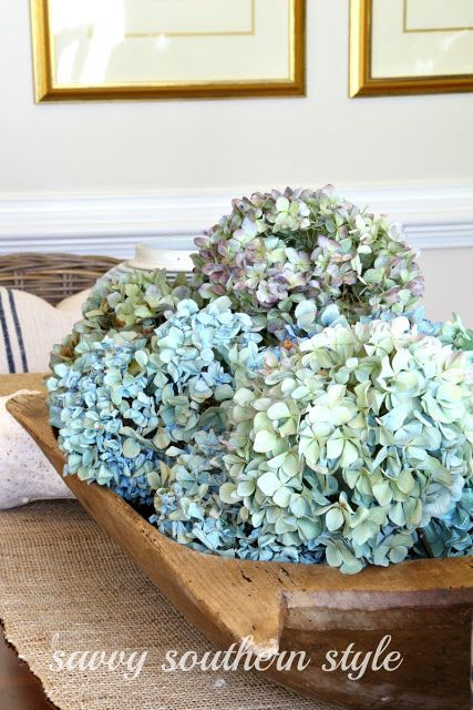 Dried Hydrangeas in an old dough bowl makes for a beautiful centerpiece!