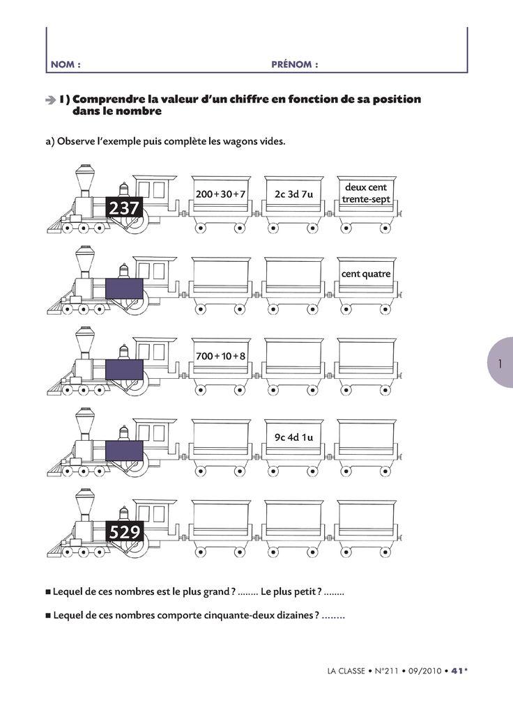 8 pages d'exercices pour faire le bilan des compétences de CE1 en numération.