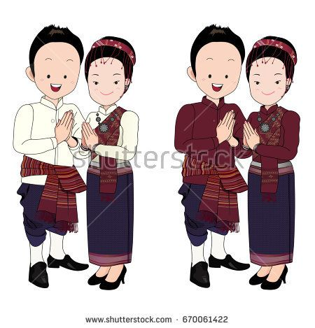 wedding couple cartoon vector,bride and  groom in north-east thai traditional suit press the hands together at the chest with happy face. การ์ตูนบ่าวสาว, ผู้ไท, อีสาน, ชุดแต่งงานอีสาน, ชุดไทย, ชุดแต่งงานพื้นบ้าน, การ์ตูน, บ่าวสาว