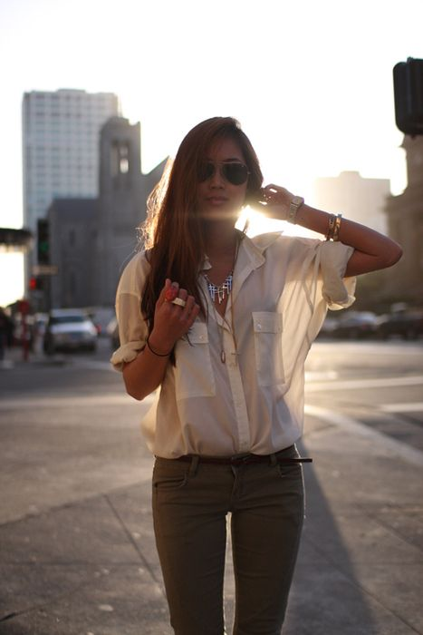 ...: Buttons Up, White Shirts, Whiteshirt, Outfit, Sheer Tops, Jeans, White Blouses, Green Pants, Olives