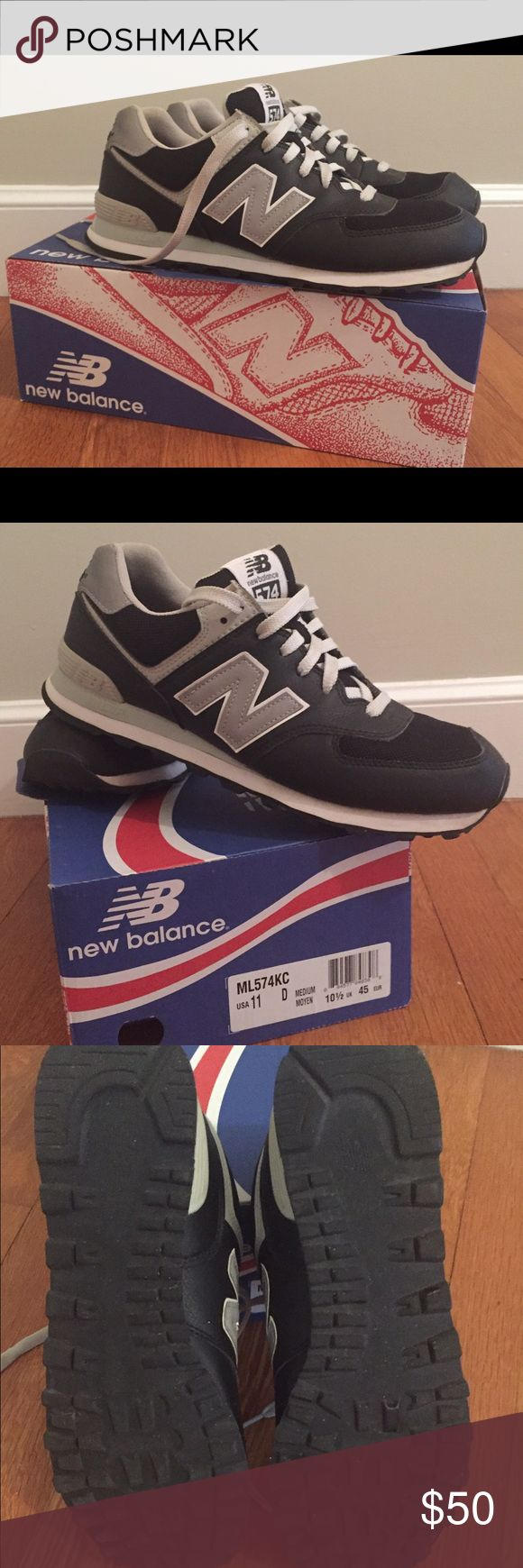 New Balance Men's 574 Classic Sneaker Men's new balance 574 classic sneakers. Navy blue and silver. Excellent condition! Only worn once. I bought the wrong size and the hubby didn't realize until after he wore it. New Balance Shoes Sneakers