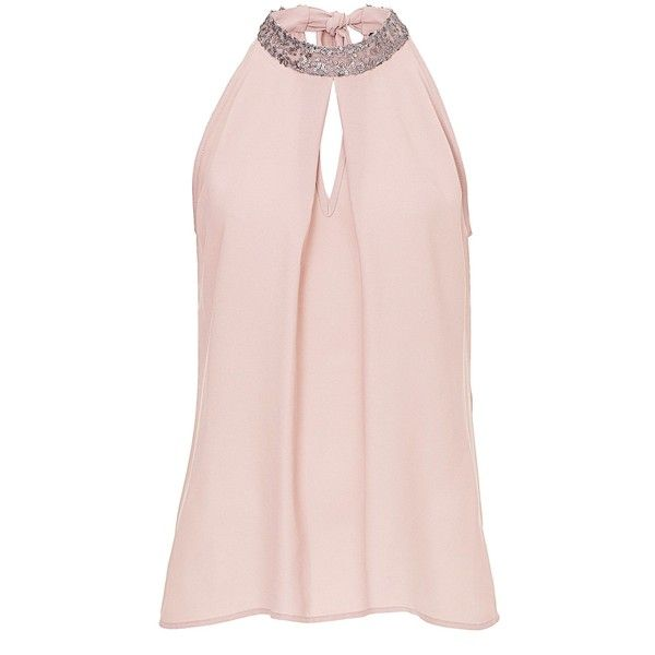 Vera Mont Halter neck chiffon blouse ($130) ❤ liked on Polyvore featuring tops, blouses, pink, women, sequin blouse, evening blouses, pink blouse, pink halter top and tie blouse