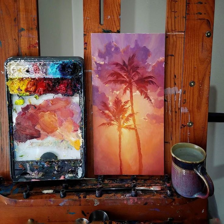 """I have to stop painting to make dinner but I really don't want to! These colors just beg me to play.   Ahh well... until later my lovely. 8x16"""" in progress. You can see other progress pics in my feed.  #palmtrees #oilpainting #originalart #newartwork #sunriseart #sunset #tropicalart #clouds #artcollecting #artgalleries #sunrise #color #pnwartist #hawaiiart"""