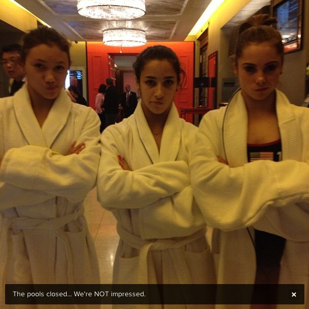 Aly Raisman Instagrammed (Instagrammed? Instagrammed) this photo of her, McKayla Maroney, and Kyla Ross being very not impressed by the fact that the pool was closed.