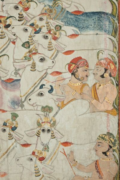 detail - Indian Pichwai with Krishna as a Goatherd.1850 to 1900. India