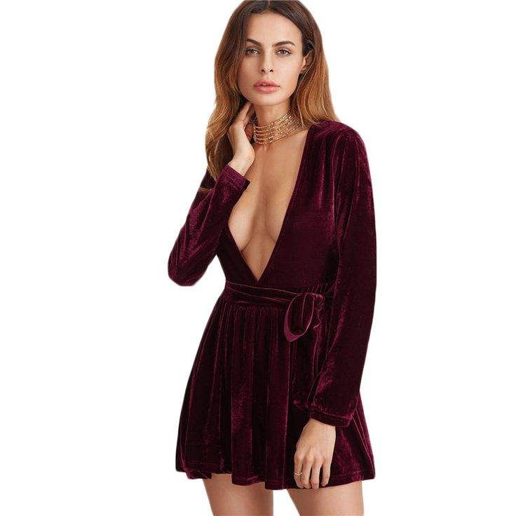Elegant Dress Full Sleeve Dresses Clubwear Sexy A Line Dress Burgundy Deep V Neck  With Belt Velvet Dress Like it? Visit us