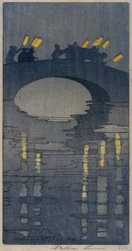 'Lanterns' (1906) by American artist & printmaker Bertha Lum (1869-1954). Woodblock print. via hanga gallery, source: the artist's site