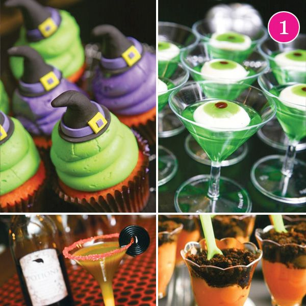 Halloween Party with awesome witch hat cupcake toppers!
