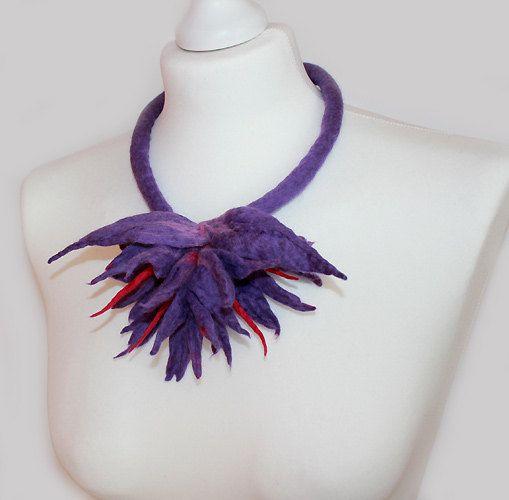 Felted Flower Necklace Choker felt collar boho wool by EsartFelt, $46.00