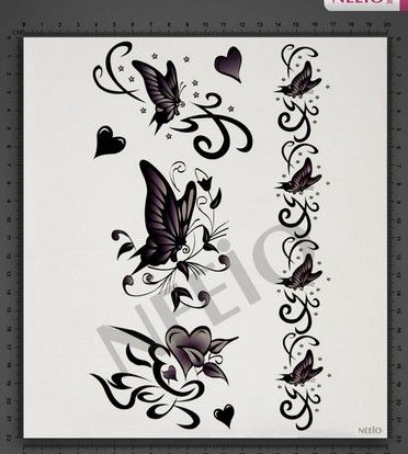 Black white butterfly temporary tattoos for fingers wrist Shoulder ...