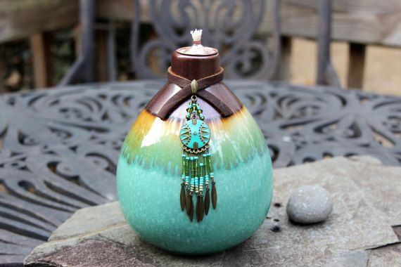 Southwestern Dreamcatcher II Tiki Torch  Oil by ShopPrettyPatina